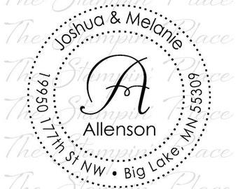 Custom Address Stamp - Fancy Letter Circle Address PR297