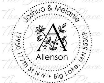 Custom Address Stamp - Flower Letter Circle Address PR282