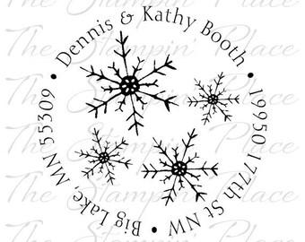 Custom Address Stamp - Snowflakes Circle Address PR205