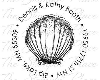 Custom Address Stamp - Scallop Shell Circle Address PR173