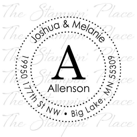 Custom Address Stamp - Letter Circle Address PR292