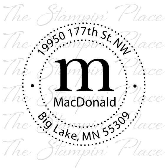 Custom Address Stamp - Letter Circle Address PR158