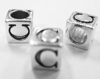 Sterling Silver 4mm Alphabet Blocks C - 1pc (3169)