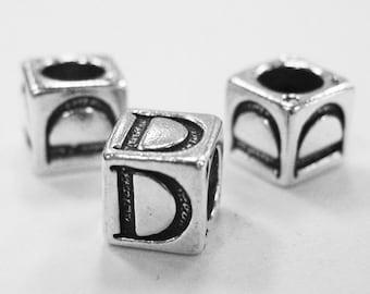 Sterling Silver 4mm Alphabet Blocks D - 1pc (3170)
