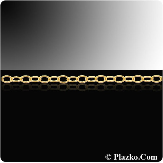 14kt Gold Filled 2 x 1.5mm Flat Cable Chain - 10ft  1 Inch (2346) Cut Chain Clearance