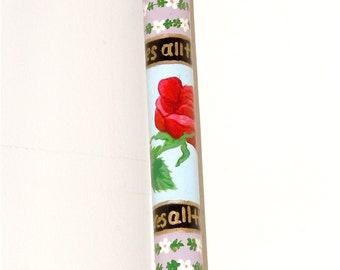 Walking Stick - Rose -  Fritz Handle - Hand Painted - Walking Cane - Roses - Daisies - Puzzle