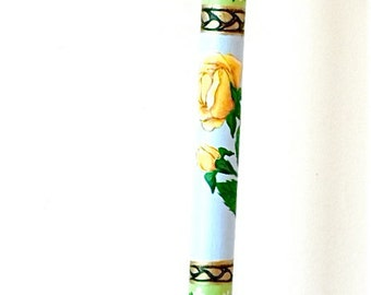 Hiking Stick -  Walking Cane -  Yellow Rose - Hand Painted - Fritz Handle -Walking Stick