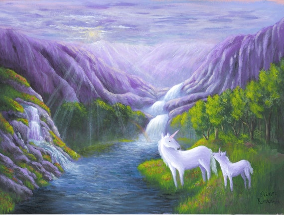Waterfall Unicorn Heaven Painting, a print of an original acrylic painting to fit 11x14 frame