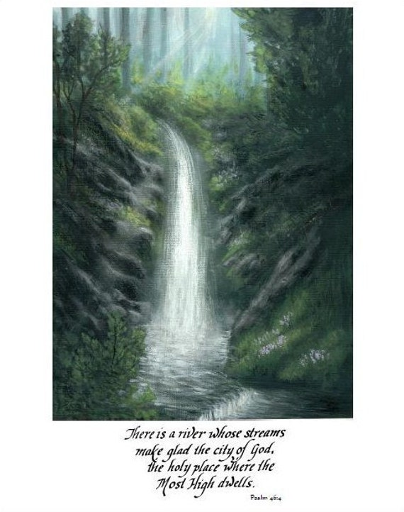 Christian wall art, Waterfall painting, a print of an original acrylic painting with scripture to fit 11x14 frame