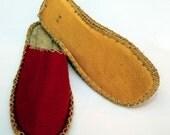red felt slippers