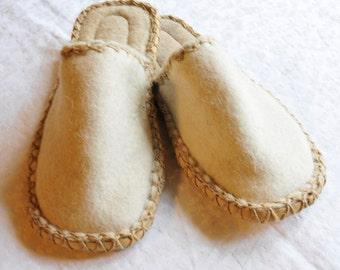 natural color felt slippers