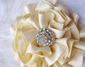 SALE - Ivory Wedding Hair Flower with Rhinestone Center