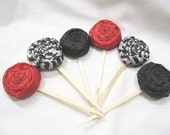 Paper Flower Rosette Cupcake Toppers - Set of 12 - Red Zebra Black - Custom colors available