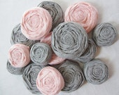 Paper Flowers - Paper Rosettes - Blush Pink and Dove Gray Set of 20 - Custom Colors Available