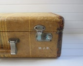 Gorgeous Vintage 1940s Tan and Tweed Suitcase Luggage