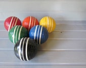 Set of Six Vintage Colorful Ribbed Croquet Balls