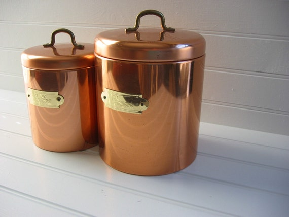 set of two copper kitchen canisters by amykristinevintage