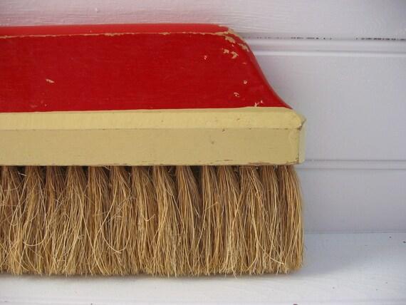 Vintage Red Wooden Hand Broom
