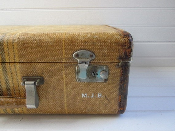 Gorgeous Vintage 1940s Tan and Tweed Suitcase Luggage