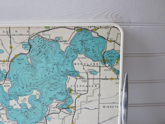 RESERVED Retro Map Tray of Lake Minnetonka