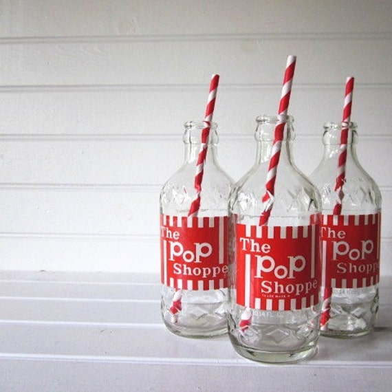 RESERVED Vintage The Pop Shoppe Bottles, Set of Two