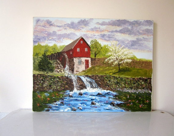 Vintage Painting, Barn, Mill and River, Vintage Wall Decor