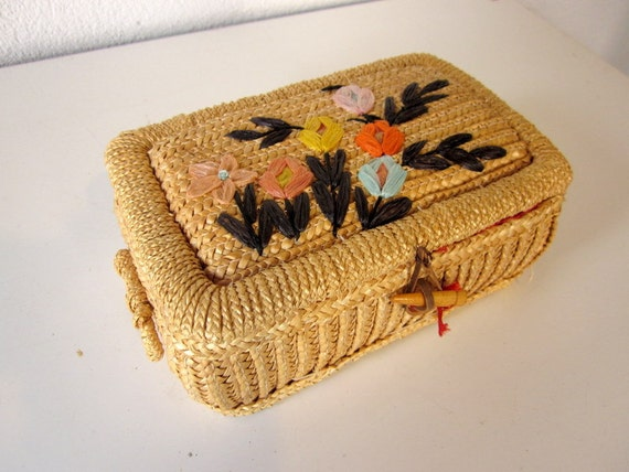 Vintage Sewing Basket, Small Wicker Woven Basket Box with Embroidered Flowers