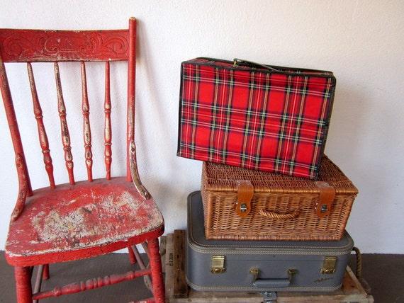 Vintage Suitcase, Red Plaid Luggage, Soft Case Vintage Storage