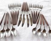 Wooden Handled Silverware, Wooden Handle, Flatware, Silverware, Flatware Set, 4 Place Settings