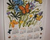 Tea Towel, 1979 Calendar, 1979 Tea Towel, Butterfly Tea Towel, 1979