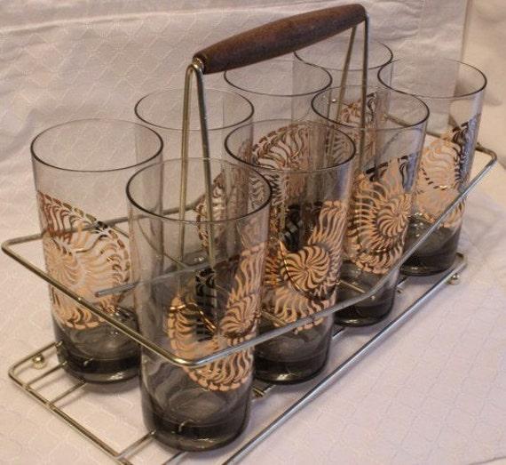 Vintage Sunburst Glass Set with Rack
