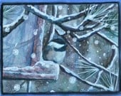miniature watercolor painting of a Chickadee