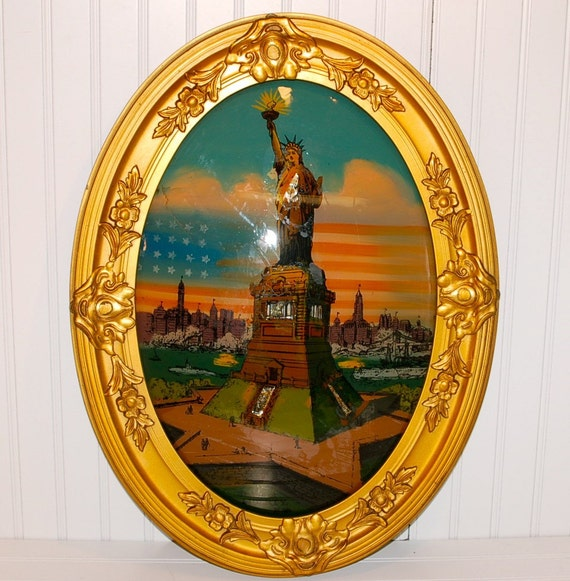 Antique 1917 Reverse Painting Statue Of Liberty By Thetinrabbit