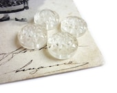 4 Vintage Buttons, Clear Carved Flower Floral Buttons