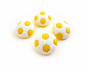 Vintage Buttons, 4 White & Yellow Football Buttons
