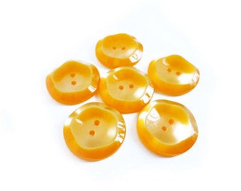 Pearly Orange Buttons, 5 Orange Flower Buttons