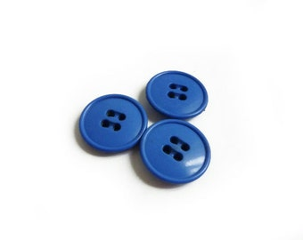 3 French Blue Plastic Buttons