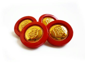 4 Vintage Buttons, Red & Gold French Coat of Arms Buttons