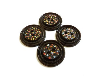 Dot Buttons, Hand Painted Vintage Buttons
