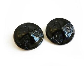 2 Big Victorian Black Glass Buttons