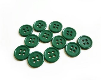 12 Dark Green Vintage Buttons