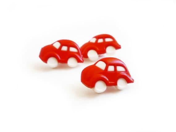 Red Car Vintage Buttons (3 pcs)