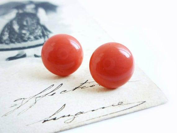 Coral Earrings, Red Stud Earrings