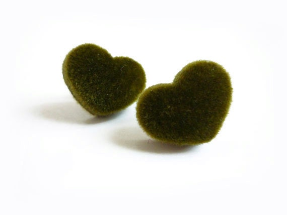 Olive Green Velvet Heart Stud Earrings