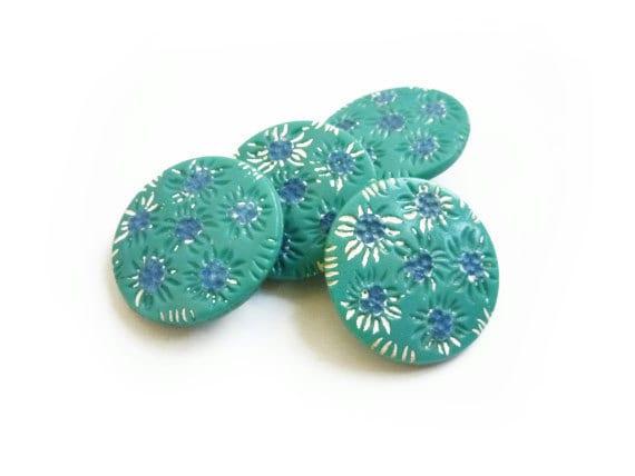 Vintage Green, White & Blue Flowers Buttons (4 pcs)