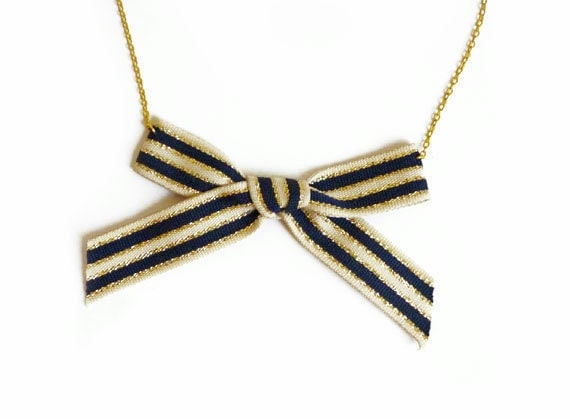 Gold & Navy Bow Necklace