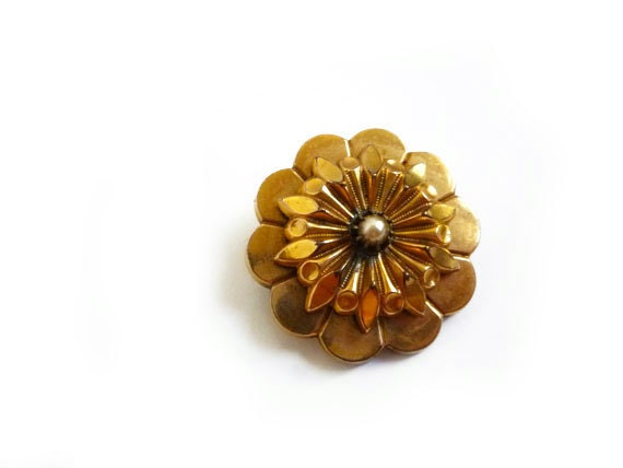 Antique Flower Brooch, Pearl & Gold French Antique Brooch Pin