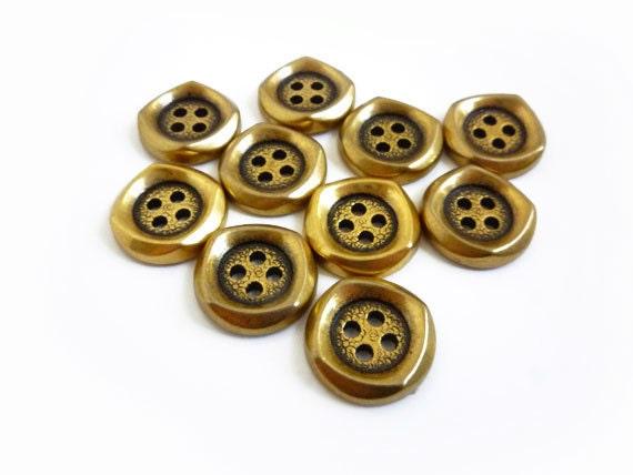 Gold Buttons, 10 Antique Gold Buttons, Vintage