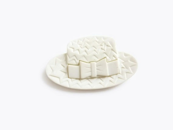 Vintage White Hat Plastic Brooch, Vintage French Brooch Pin, Bow, Chevrons