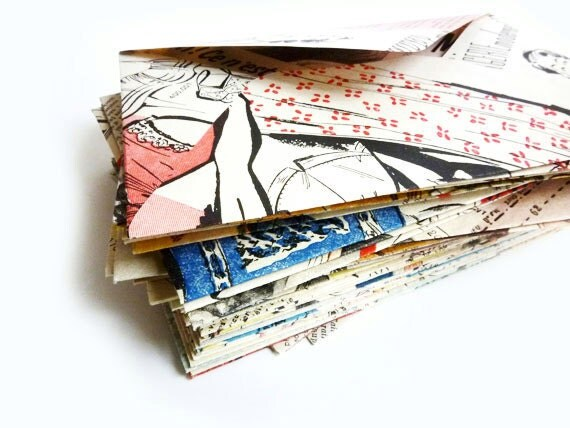 5 Envelopes made from Vintage (1950) French Fashion Magazine, Wedding Invitations, Save The Date, Birthday Party- Made to Order